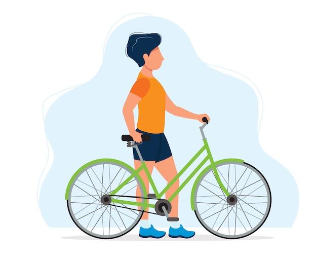 自転車、健康的なライフスタイル、スポーツのための概念図を持つ男