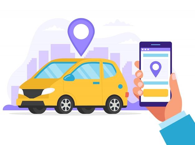 カーシェアリングのコンセプト。車の位置を見つけるためのアプリを備えたスマートフォンを持っている手。