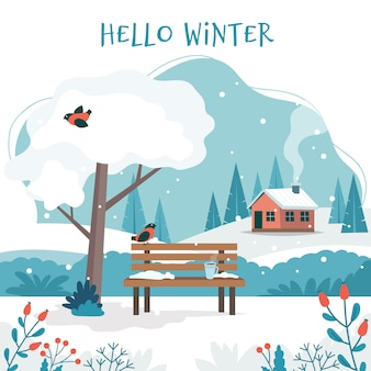 こんにちは、冬、かわいいベンチのある風景