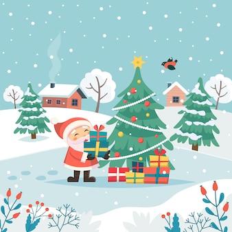 Санта с рождественскими подарками под елкой