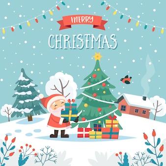 サンタとクリスマスプレゼントテキストとメリークリスマスのグリーティングカード。