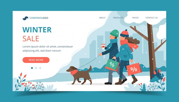 Мужчина и женщина с распродажами сумок, выгуливая собаку зимой, целевая страница