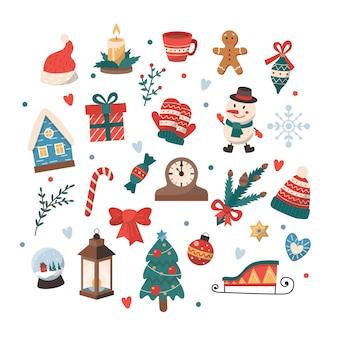 Набор рождественских элементов.
