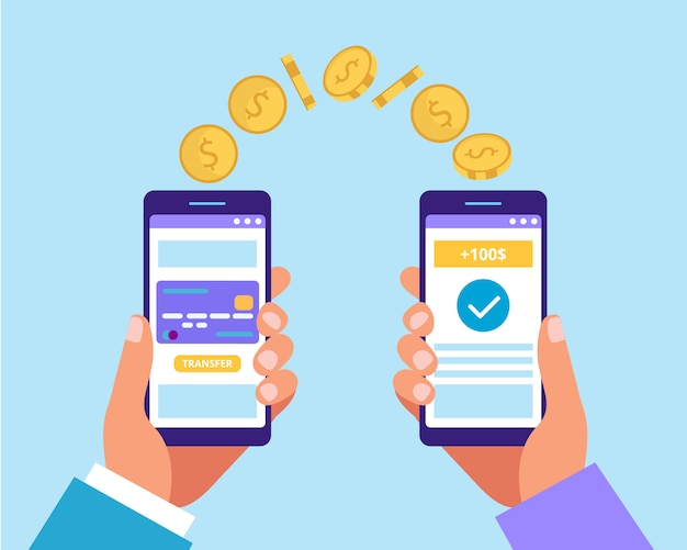 スマートフォン経由で送金します。支払いアプリケーション。フラットスタイルのイラスト