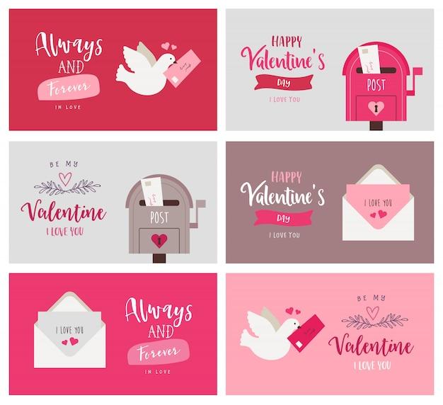 バレンタインのグリーティングカードのセット