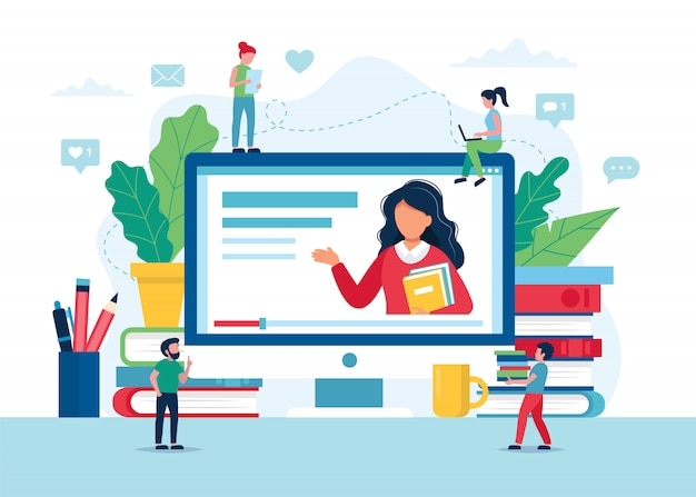 Концепция образования онлайн, экран с учителем, книги и карандаши.