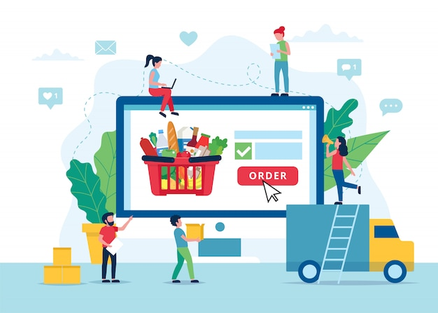 Концепция доставки продуктов, заказать еду онлайн.