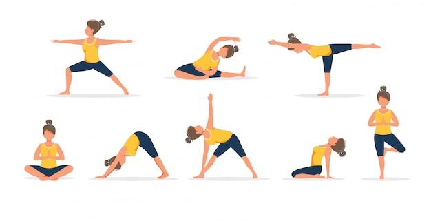 Женщина практикующих йогу, множество разных позах. здоровый образ жизни.