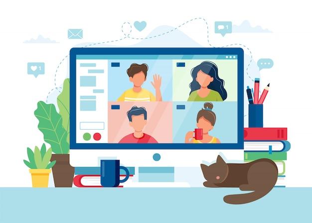Компьютер с группой людей, делающих видео конференцию. онлайн встреча через групповой звонок.