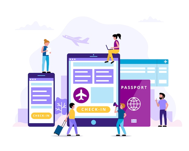 チェックイン、タブレット、スマートフォン、パスポート、搭乗券の概念図。