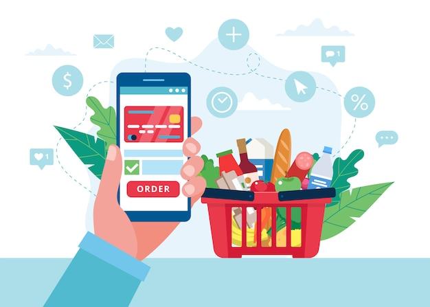 スマートフォンで食料品をオンラインで注文し、クレジットカードで支払います。