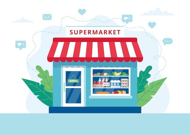 食料品店のコンセプト、さまざまな食料品店のスーパーマーケット。