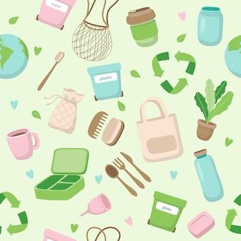 さまざまな要素を持つゼロ廃棄物概念シームレスパターン。