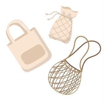 Хлопок многоразовые сумки - ноль отходов концепции векторные иллюстрации в мультяшном стиле.
