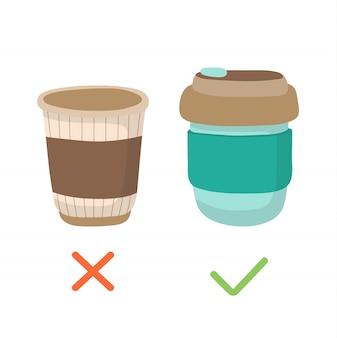 再利用可能なコーヒーカップと使い捨てカップ - ゼロ廃棄物の概念図。