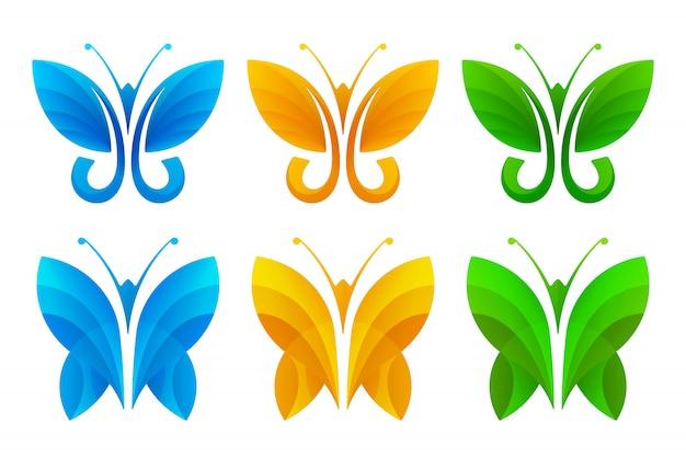 カラフルな抽象的な蝶のアイコンを設定