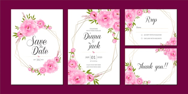 日付ピンクの花セット、結婚式の招待カードのテンプレートを保存します