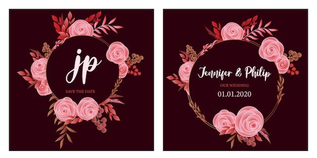日付ピンクのバラの結婚式の招待カードのテンプレートを保存します