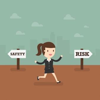 Бизнес женщина, принимая де рискованно