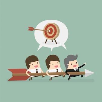 Босс и сотрудники работают вместе