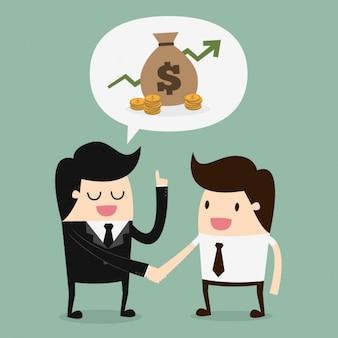 Хозяин и работник говоря о деньгах