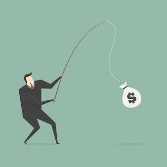 お金の袋を釣りビジネスマン