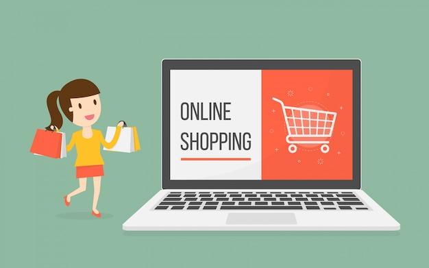 女性キャラクターによるオンラインショッピング