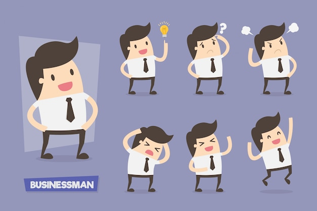 Симпатичные бизнесмены персонажей в различных действиях