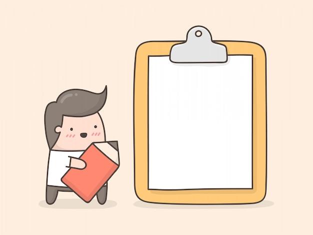 クリップボードに空白の紙を持つ小さな男。