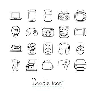Домашние устройства. симпатичные каракули иконки.