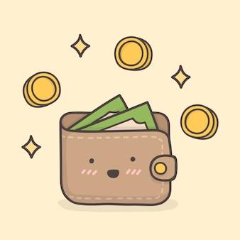Бумажник. симпатичные каракули иллюстрации.