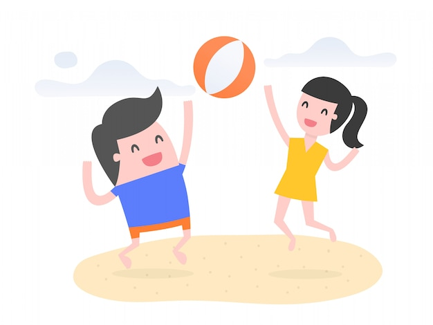 Люди играют в пляжный мяч на пляже.