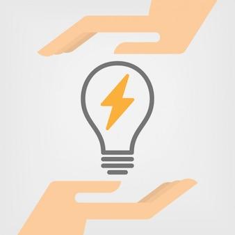 バッテリー記号が付いた電球
