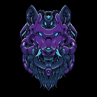Кибер волчья голова иллюстрация