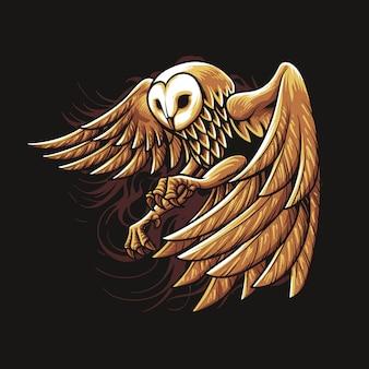 Иллюстрация сова золото