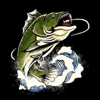 Бас рыбалка иллюстрация