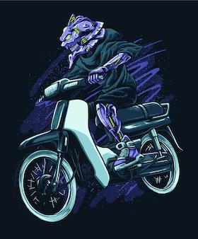 バイクに乗るオートバイの図
