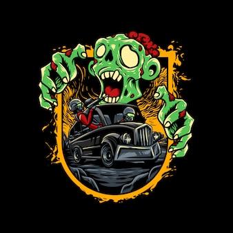 Иллюстрация автобус зомби