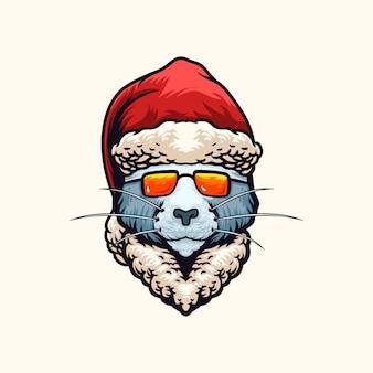 Кошка рождественская голова иллюстрация
