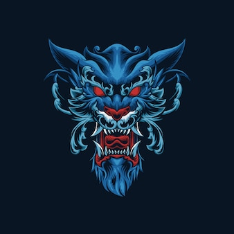 Иллюстрация головы орнамента волка