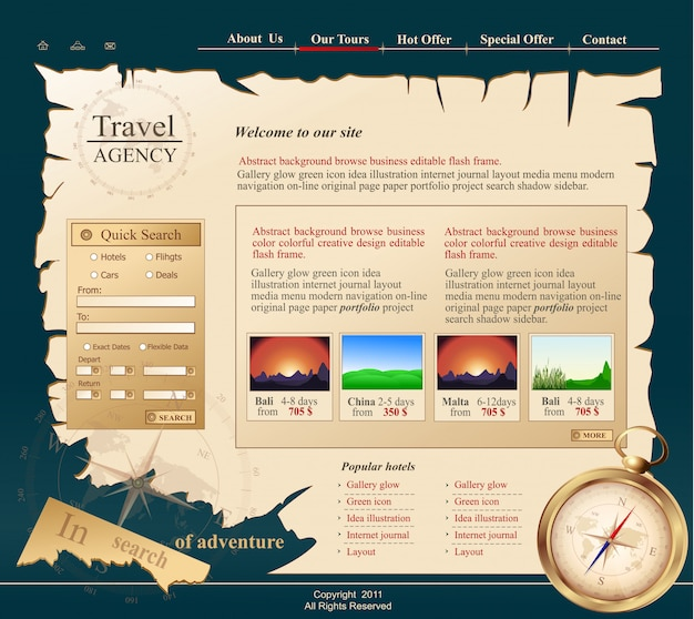 Серый веб-сайт для туристического агентства