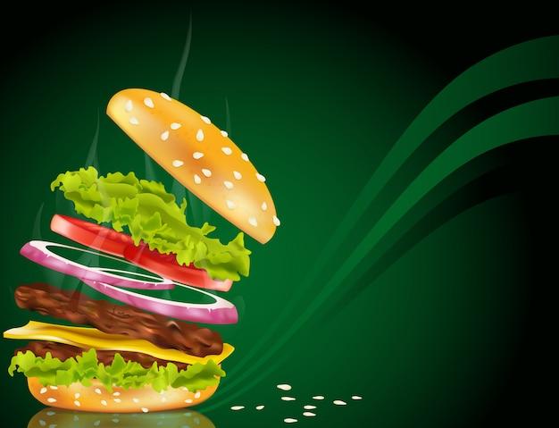 Дымящийся гамбургер с сыром, луком и котлетой на зеленом фоне