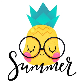 かわいいパイナップルと夏手書きレタリング