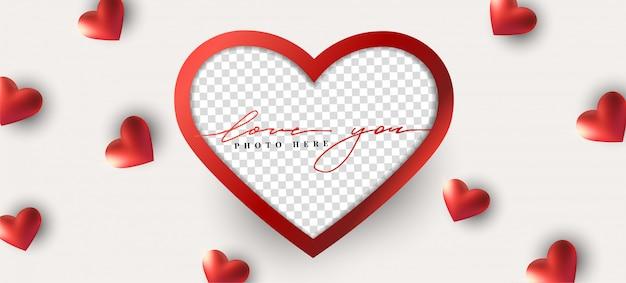 Счастливый день святого валентина абстрактный фон с реалистичным сердцем, фоторамка.