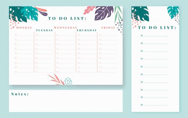 Еженедельный планировщик дизайна. минимальный стиль, чтобы сделать список. планировщик студентов