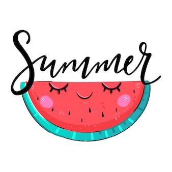 Летняя фраза рукописные надписи с фруктовым арбузом изолированы