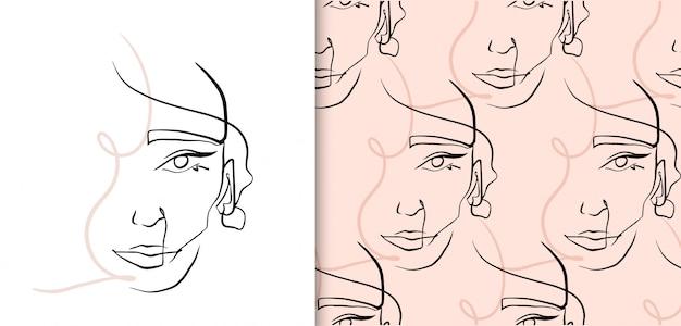 抽象的な連続線の女性の顔、シームレスパターンのコレクション。