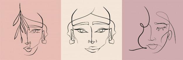 抽象的な線の女性の顔のコレクション。