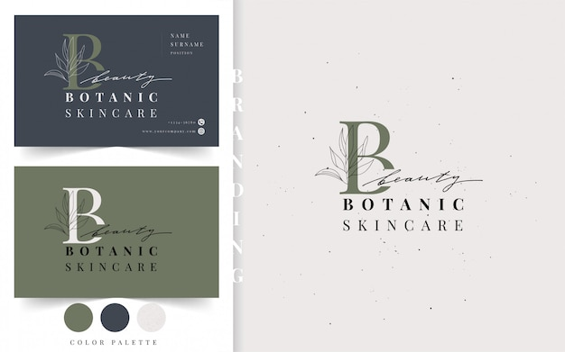 Ботанический логотип. шаблон визитной карточки красоты.