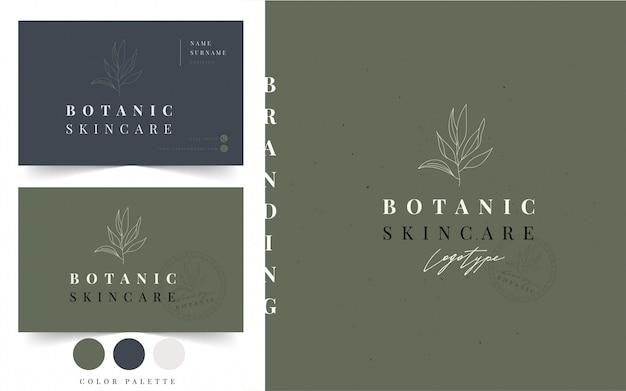 Шаблон визитной карточки ботанический логотип
